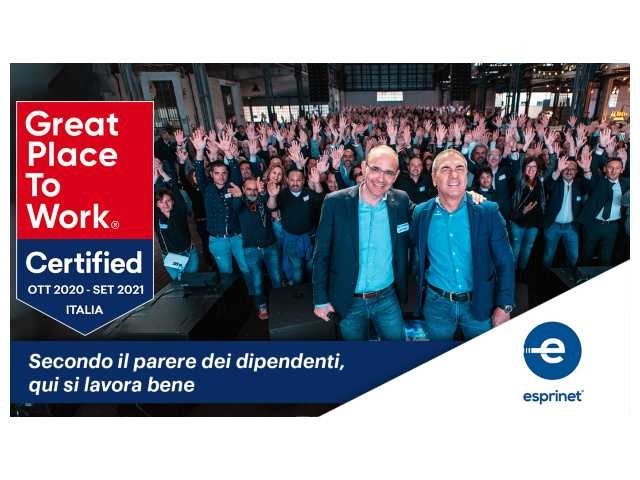 Esprinet Italia riceve il riconoscimento Great Place to Work Certified Company