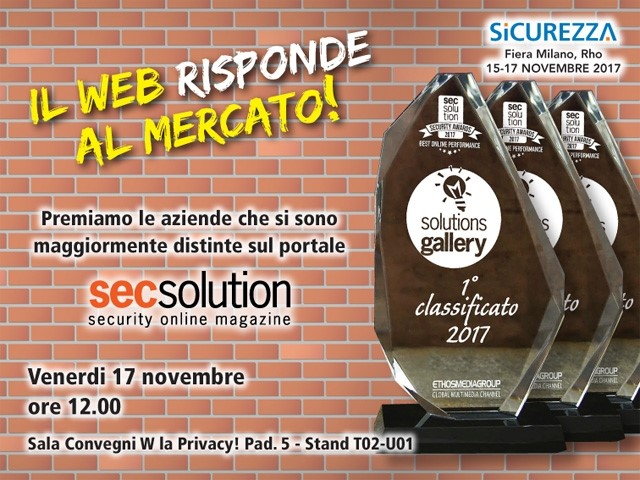 Security Awards 2017: Secsolution premia le 30 migliori performance online